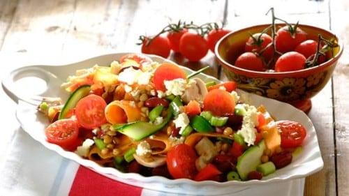 Marinated mushroom, lentil and feta salad