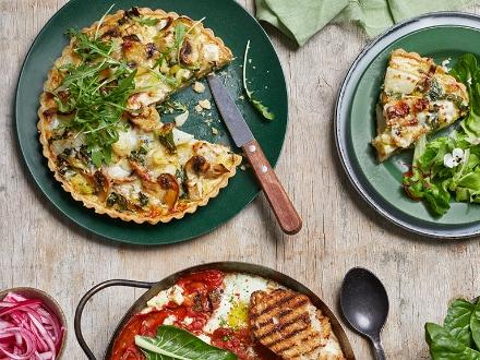 Leek, Mushroom and Turnip Leaf Quiche