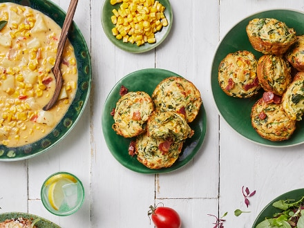 Spinach, Corn And Bacon Muffins