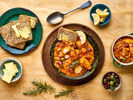 Fish Stew  with Cannellini Beans, Lemon, Rosemary & Olives