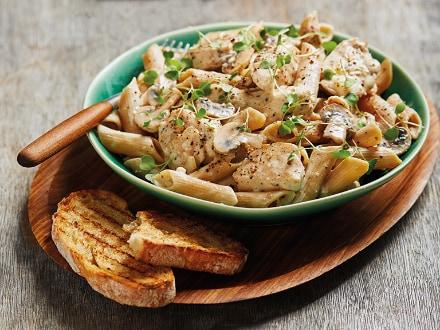 Chicken and Mushroom Stroganoff with Wholewheat Pasta