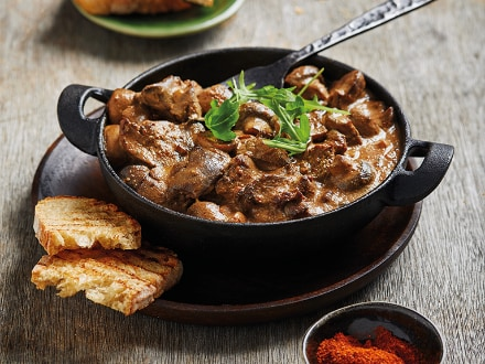 Spicy Chicken Livers and Mushrooms on Toasted Bread